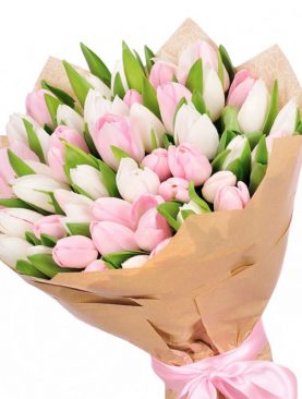 Букет из 35 тюльпанов Розовый