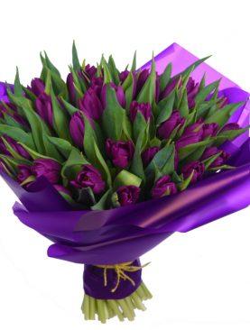 Букет из 45 тюльпанов Фиолетовый