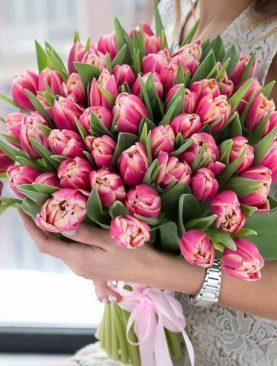 Букет из 51 тюльпана Розовый