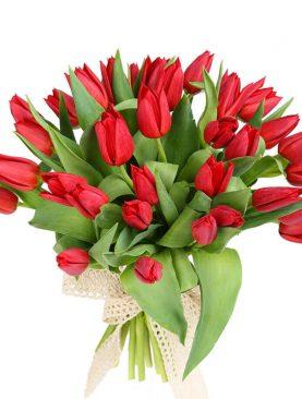 Букет из 35 тюльпанов  Красный